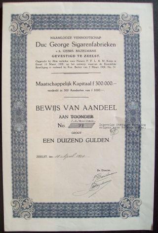 Netherlands 1920 Bond Duc George Sigarenfabrieken Zeelst Tobacco. .  B1540 photo