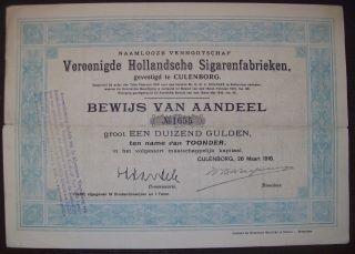 Netherlands 1918 Bond Vereenigde Hollandsche Sigarenfabrieken Tobacco.  B1533 photo