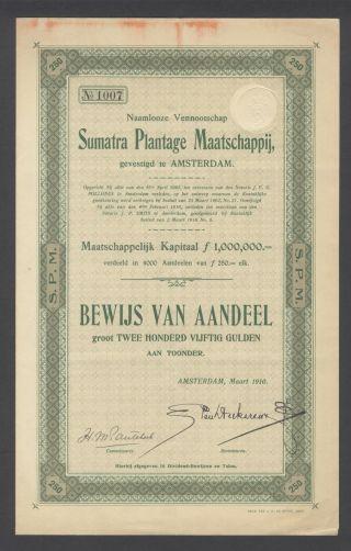 Netherlands 1910 Bond With Coupons Sumatra Plantage Maatschappij Tobacco.  B1527 photo