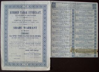 Netherlands 1906 Bond With Coupons Rimboen Tabak Syndicaat - Tobacco.  B1520 photo