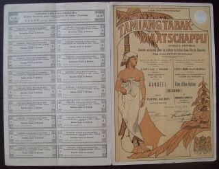 Netherlands 1903 Illustrated Bond Tamiang Tabak Maatschappij Tobacco.  B1555 photo