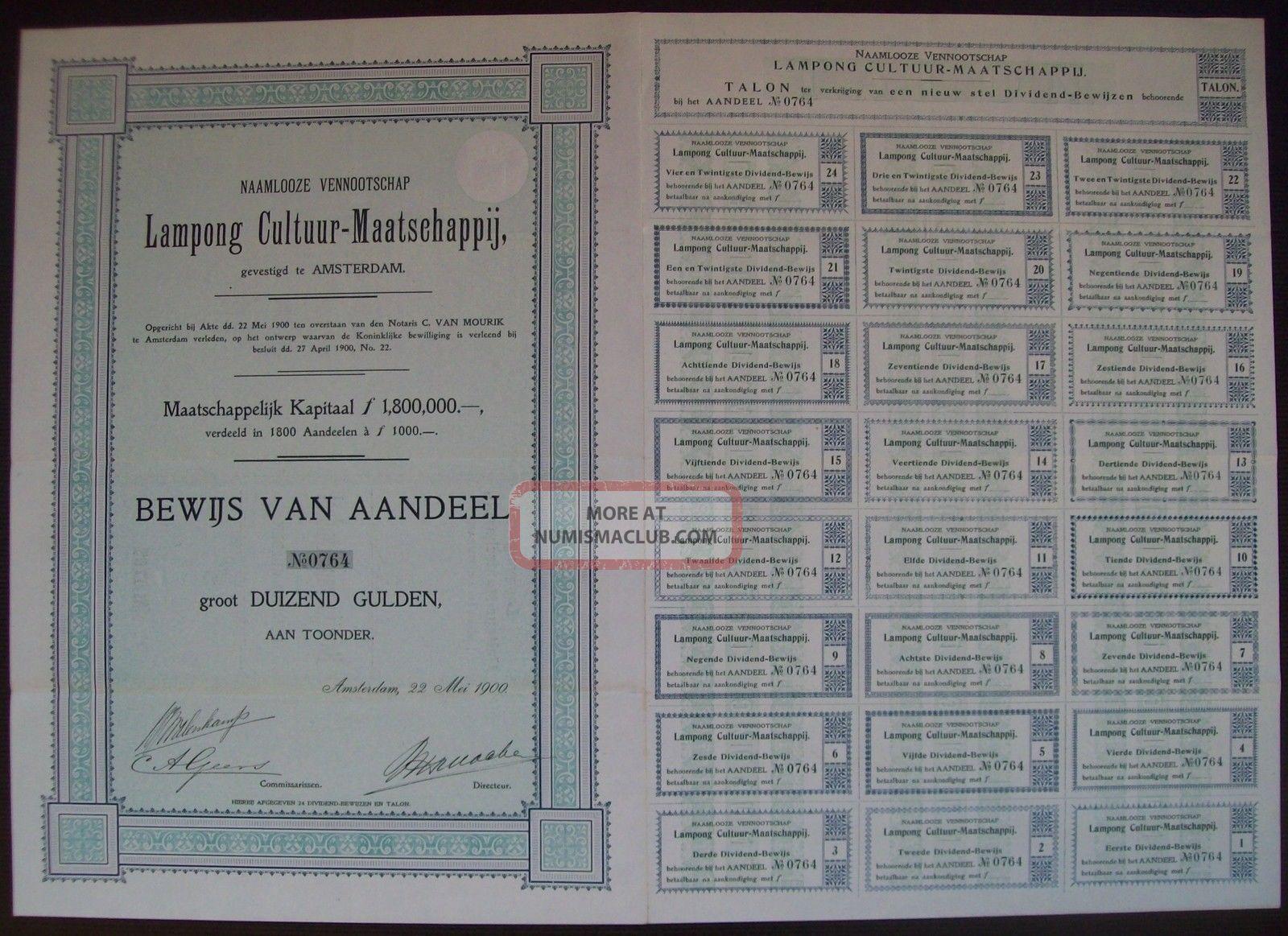 Netherlands 1900 Bond With Coupons Lampong Cultuur Maatschappij Tobacco.  B1526 World photo