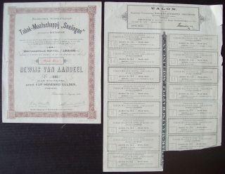 Netherlands 1899 Bond With Coupons Tabak Maatschappij Soelingan Tobacco.  B1525 photo