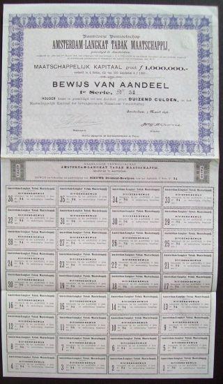 Netherlands 1898 Bond Amsterdam Langkat Tabak Maatschappij Tobacco. .  B1542 photo