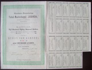 Netherlands 1896 Bond With Coupons Tabak Maatschappij Sakoeda Tobacco.  B1521 photo