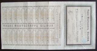 Netherlands 1890 Bond With Coupons Tabak Maatschappij Silinda Tobacco.  B1524 photo