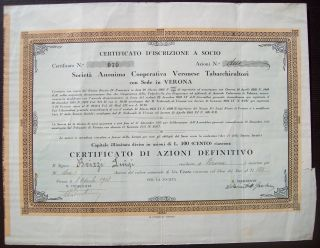 Italy 1938 Bond With Coupons Cooperative Veronese Tabaccicultori Tobacco.  B1572 photo