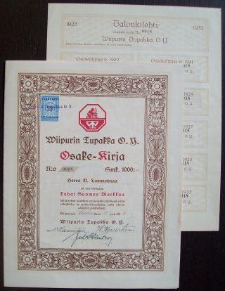 Finland 1923 Illustrated Revenue Stamped Bond Wiipuri Tupakka O/k Tobacco.  B1569 photo
