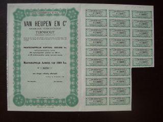 Belgique Belgium 1951 Bond With Coupons Van Heupen & Co Turnhout Tobacco.  B1549 photo