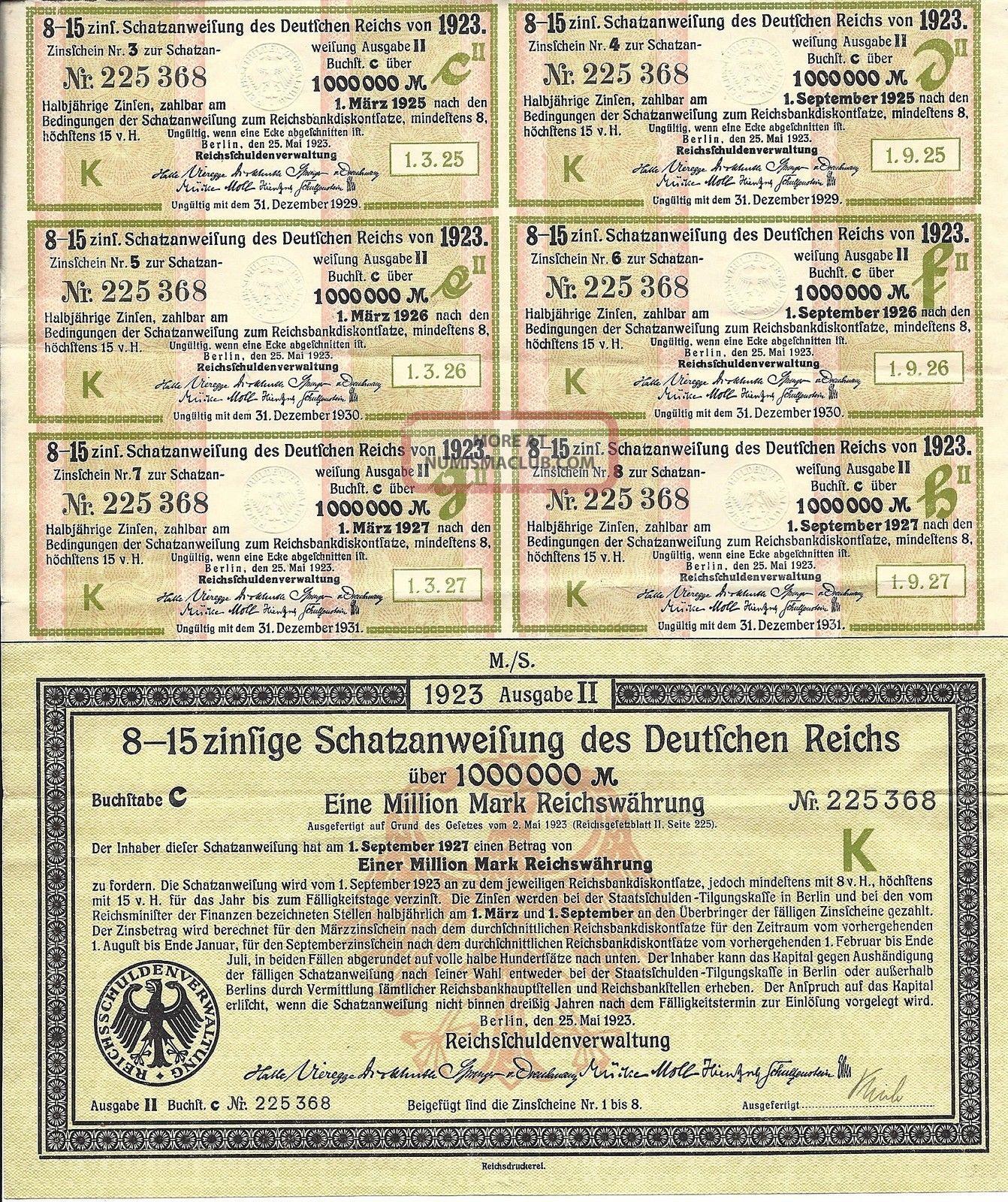 German Schatzanweifung Des Deutfchen Reichs 1,  000,  000 Mark Bond With Coupons World photo