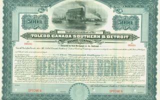 $5,  000 - 4 Gold Bond Toledo,  Canada Southern & Detroit Railway Company photo