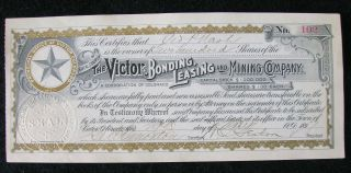 1897 - The Victor Bonding,  Leasing And Mining Company - 200 Shares - No.  102 photo