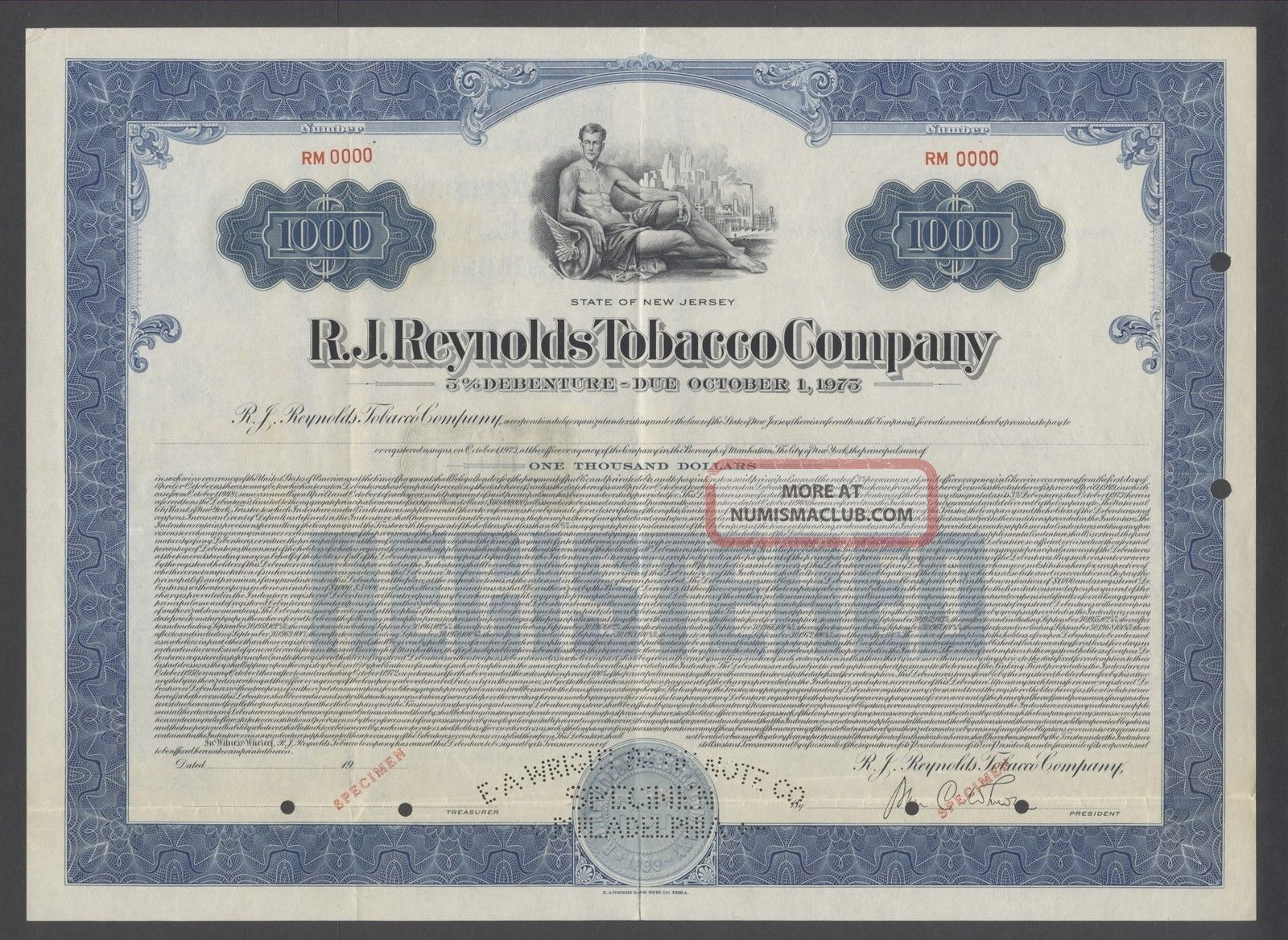 United States 1973 Bond Specimen - R.  J Reynolds Tobacco Company. .  B1581 World photo