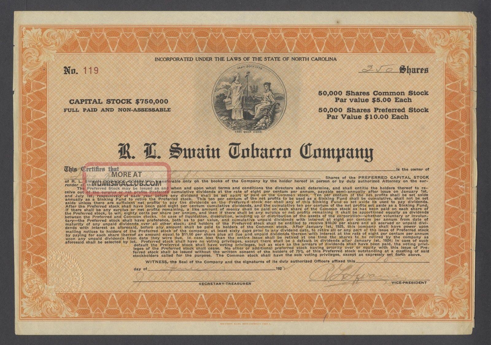 United States 1927 Bond Certificate R.  L Swain Tobacco Co. . .  B1589 World photo