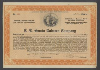 United States 1927 Bond Certificate R.  L Swain Tobacco Co. . .  B1589 photo
