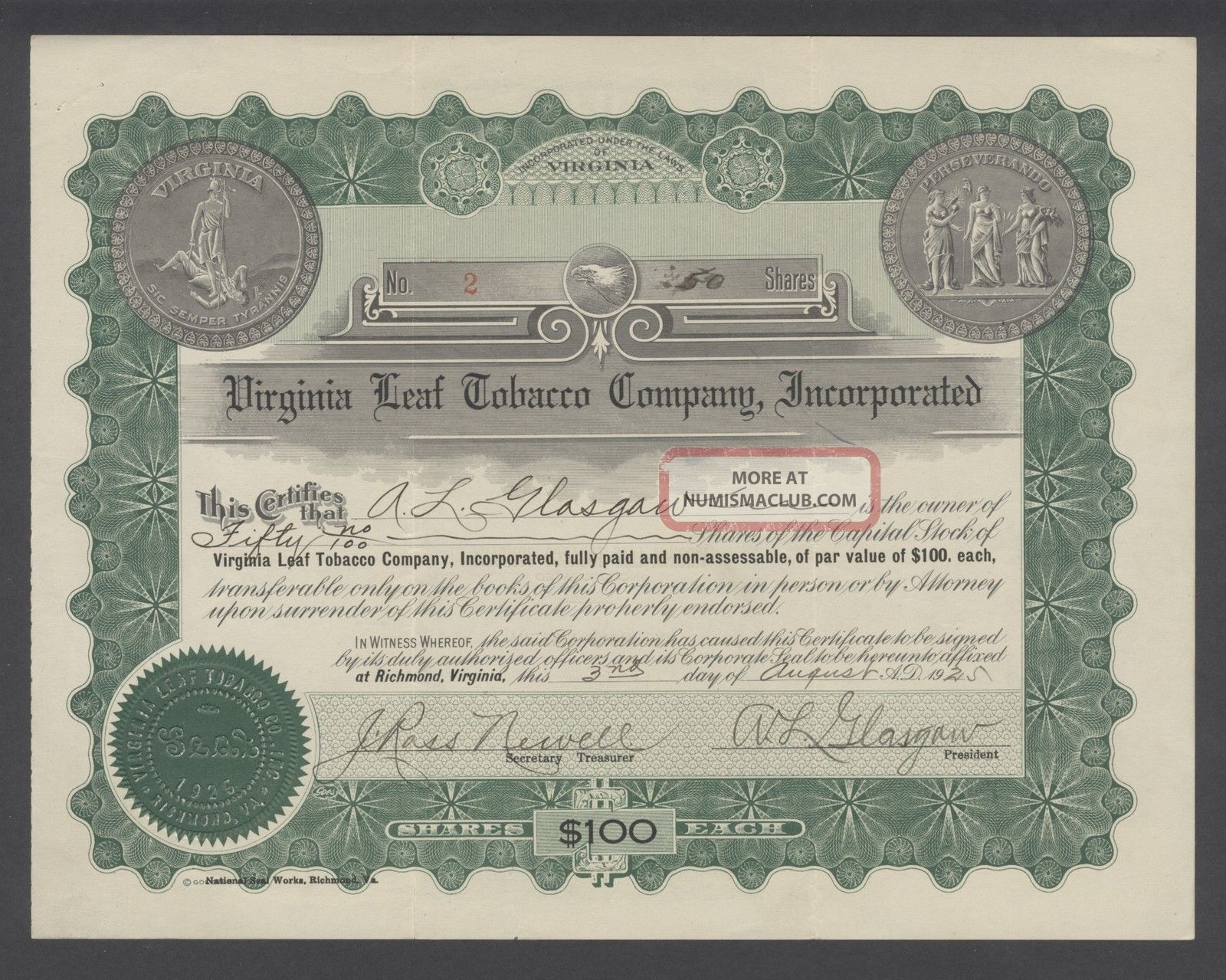 United States 1925 Bond Certificate Virginia Leaf Tobacco Co Inc. .  B1583 World photo