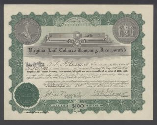 United States 1925 Bond Certificate Virginia Leaf Tobacco Co Inc. .  B1583 photo