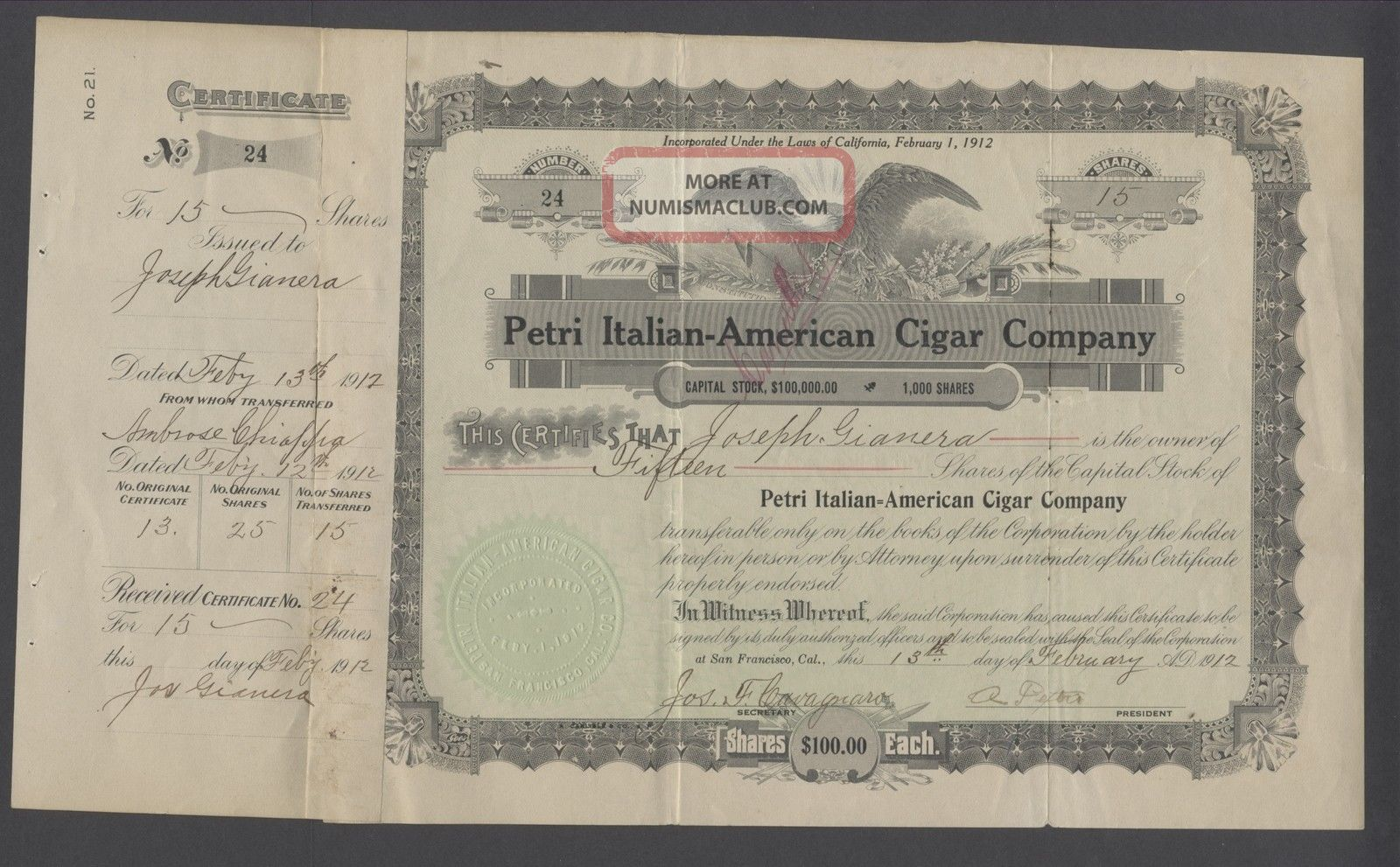 United States 1917 Revenue Stamped Bond Petri Italian - American Cigar Co.  B1596 World photo