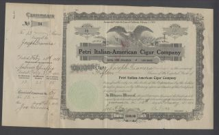 United States 1917 Revenue Stamped Bond Petri Italian - American Cigar Co.  B1596 photo
