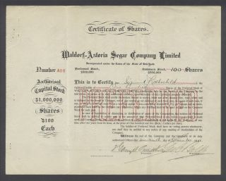 United States 1906 Bond Certificate Maldorf - Astoria Segar Co Ltd. .  B1586 photo