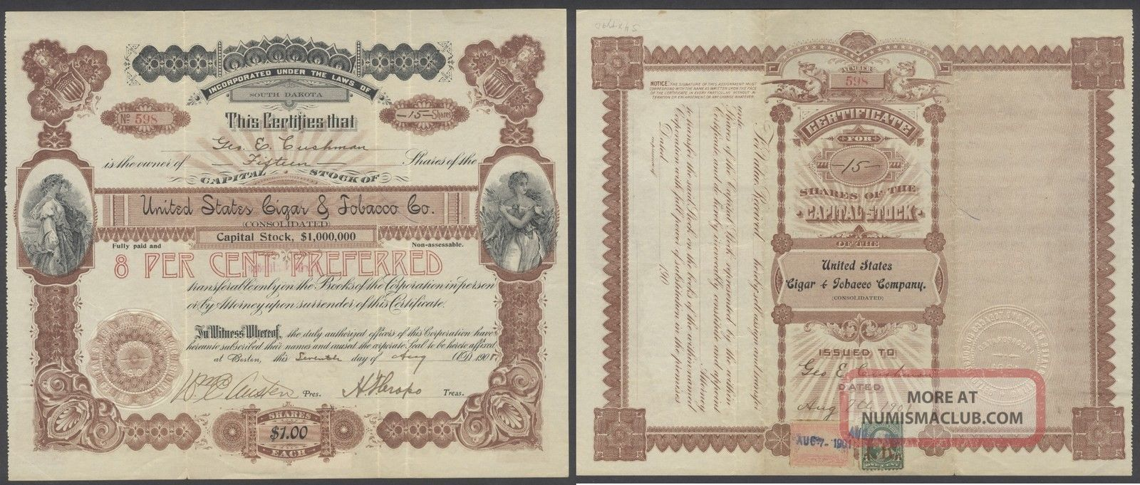 United States 1901 Revenue Stamped Bond United States Cigar & Tobacco Co.  B1584 World photo