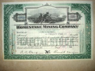 Stock Certificate - Vintage Homestake Mining Company - 1944 photo