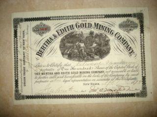 Stock Certificate - The Bertha & Edith Gold Mining Company - 1878 photo