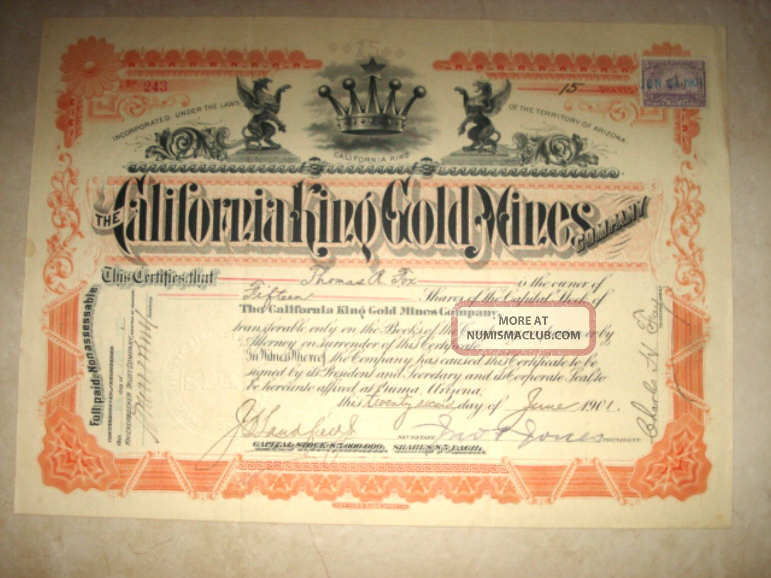 Stock Certificate - California King Gold Mines Co.  1901 Stocks & Bonds, Scripophily photo