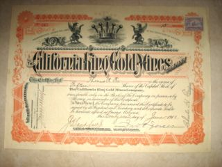Stock Certificate - California King Gold Mines Co.  1901 photo