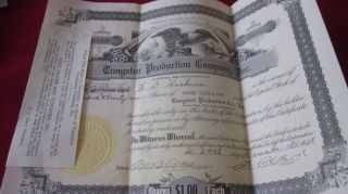 Tungsten Production Company 421 Shares Certificate No 16399 December 29,  1928 photo