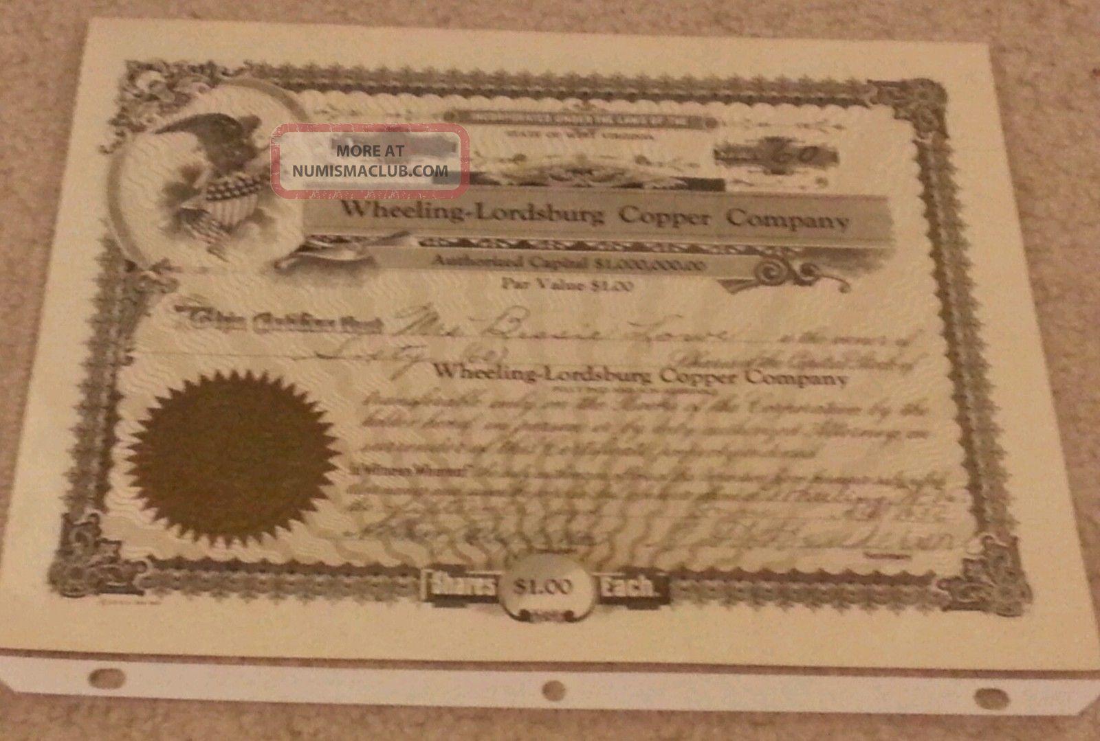Wheeling - Lordsburg Copper Company Stock Certificate 1936 W/ Seal Wv Stocks & Bonds, Scripophily photo