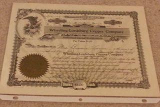 Wheeling - Lordsburg Copper Company Stock Certificate 1936 W/ Seal Wv photo