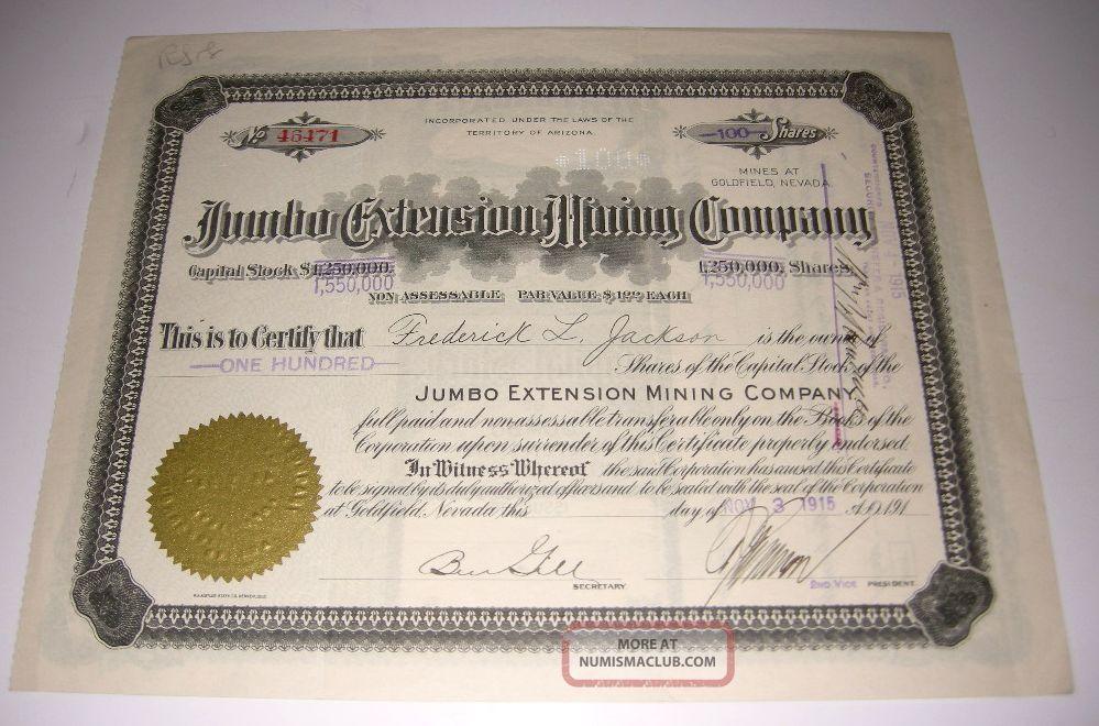 1915 Jumbo Extension Mining Company Stock Certificate Goldfield Nevada Stocks & Bonds, Scripophily photo