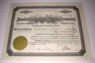 1915 Jumbo Extension Mining Company Stock Certificate Goldfield Nevada photo