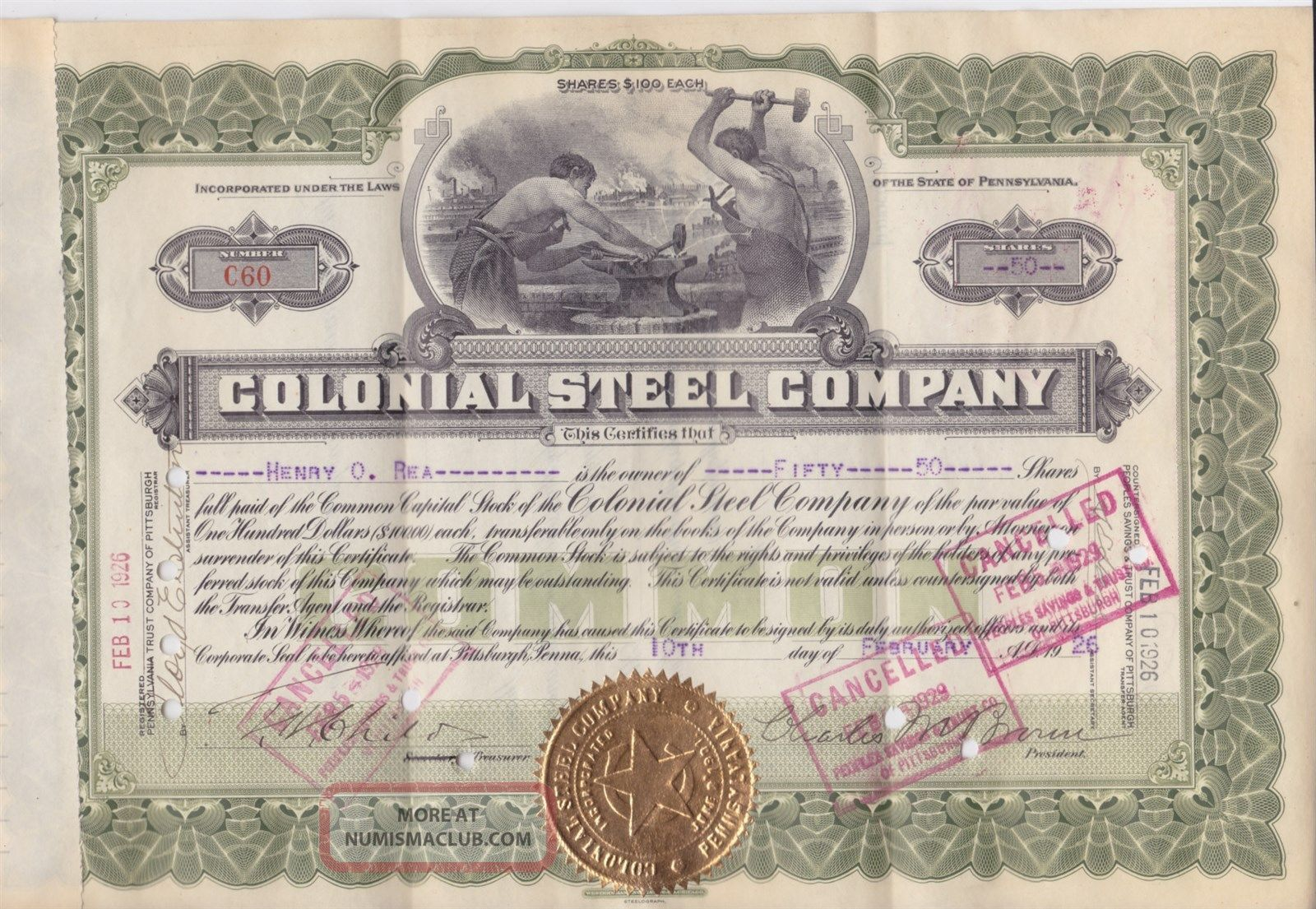 Monaca Pa 1926 Colonial Steel Co.  Stock Certificate Stocks & Bonds, Scripophily photo