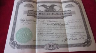 American Mines And Smelting Company 50 Shares Certificate No 3351; Oct.  15 1928 photo
