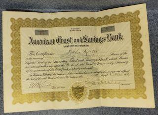 1927 American Trust & Savings Bank Evansville Indiana Stock Cert Helen Roetzel photo