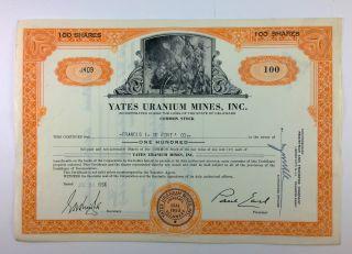 Yates Uranium Mines,  Inc.  Common Stock Certificate,  1953,  Delaware photo