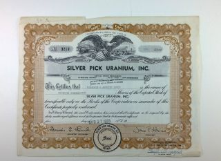 Silver Pick Uranium,  Inc. ,  Stock Certificate,  1955,  Nevada photo