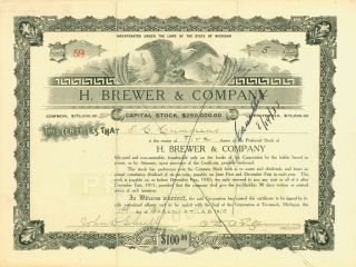 1910 Stock Certificate - H.  Brewer & Company photo