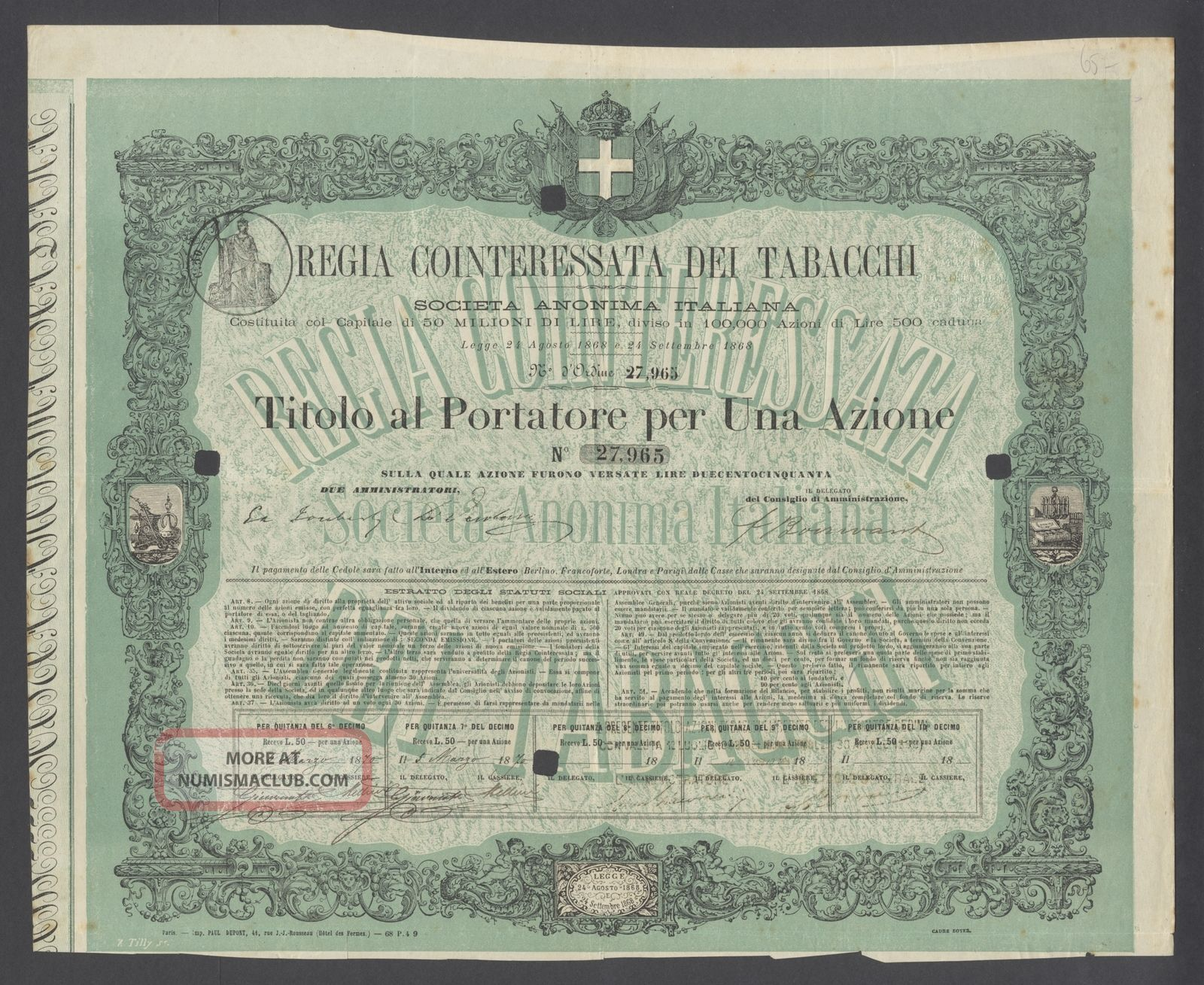 Italy 1870 Ornate Bond Certificate Reggia Cointeressata Dei Tabacchi.  B1573 World photo