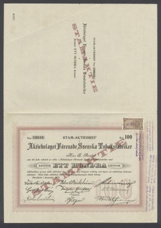 Sweden 1912 Bond Certificate Forenade Svenska Tobaksfabriker Stockholm.  B1568 photo