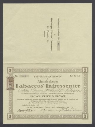 Sweden 1923 Bond Certificate Tabaccos ' Intressenter Stockholm. .  B1567 photo