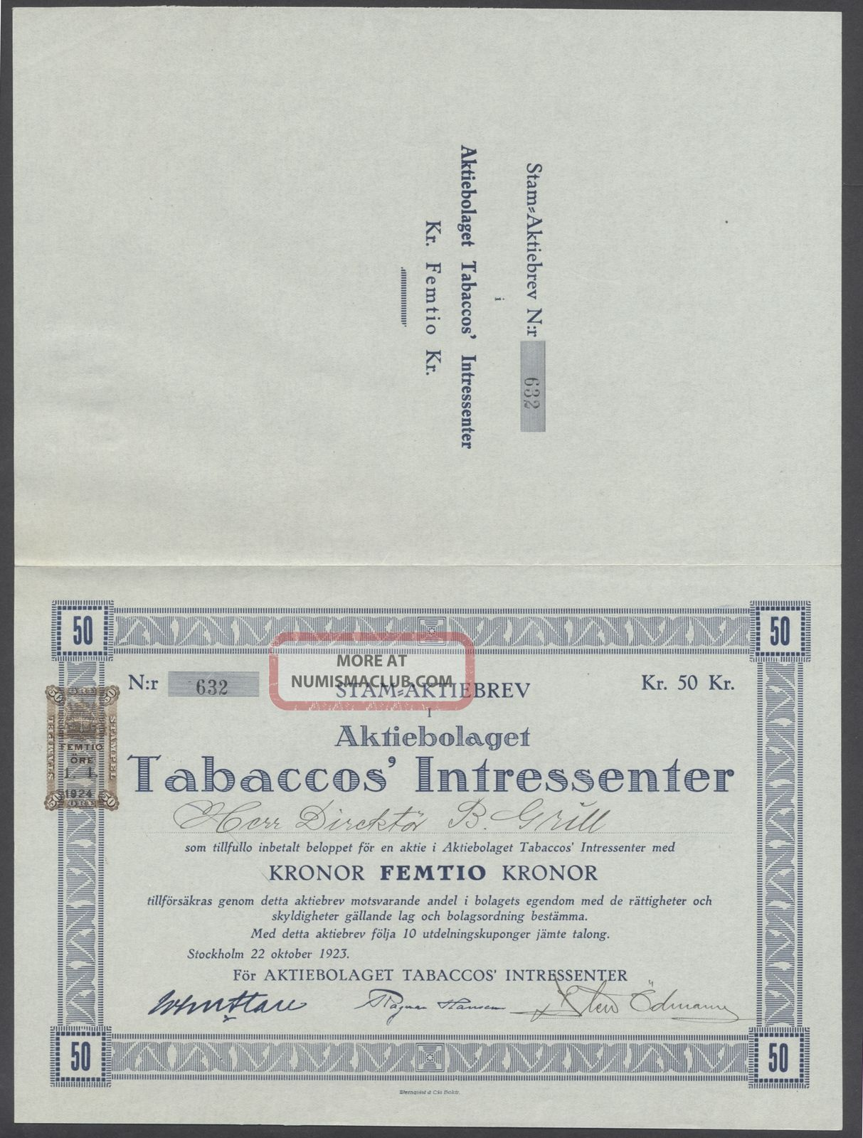 Sweden 1923 Bond Certificate Tabaccos ' Intressenter Stockholm. .  B1566 World photo