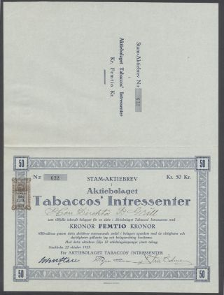 Sweden 1923 Bond Certificate Tabaccos ' Intressenter Stockholm. .  B1566 photo