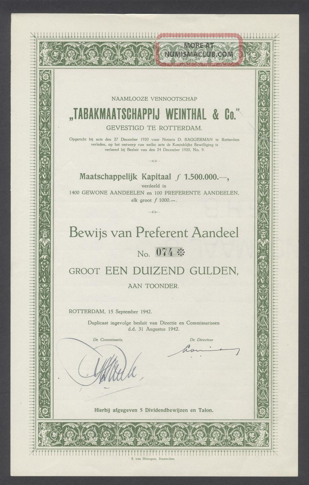 Netherlands 1942 Bond - Tabakmaatschappij Weinthal Rotterdam - Tobacco.  B1546 World photo