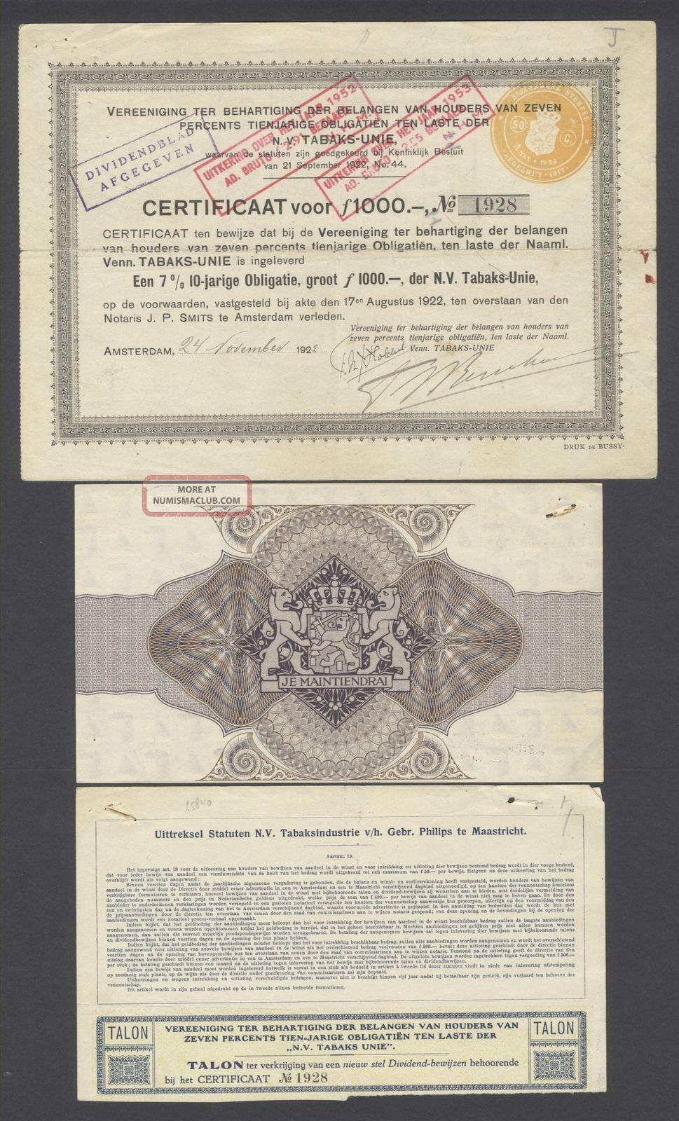 Netherlands 1922 Bond Certificate - Nv Tabaks Unie Amterdam - Tobacco.  B1536 World photo