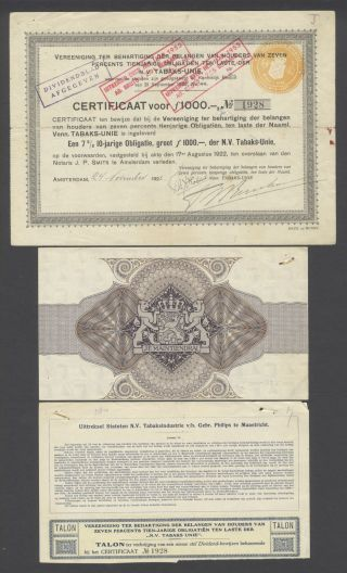 Netherlands 1922 Bond Certificate - Nv Tabaks Unie Amterdam - Tobacco.  B1536 photo
