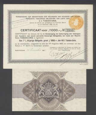 Netherlands 1922 Bond Certificate - Nv Tabaks Unie Amterdam - Tobacco.  B1535 photo