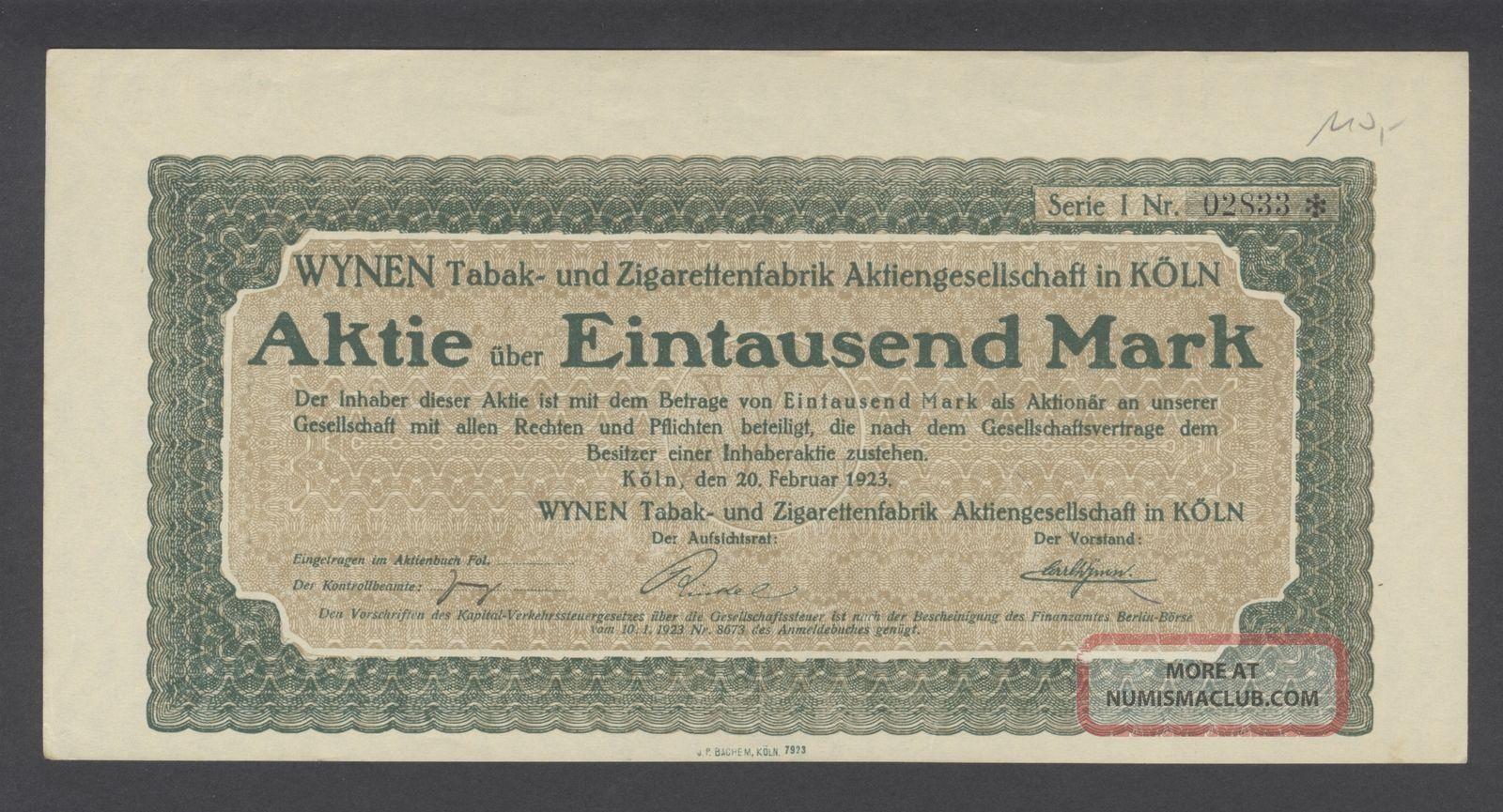 Germany 1923 Bond - Wynen Tabak Und Zigarettenfabrik Koln. . .  A1512 World photo